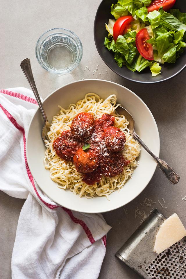 Spaghettis aux boulettes de porc et parmesan maison et concours Kitchen Aid