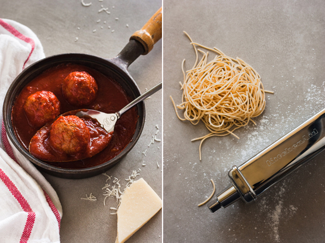 Parmigiana meatballs and homemade spaghetti