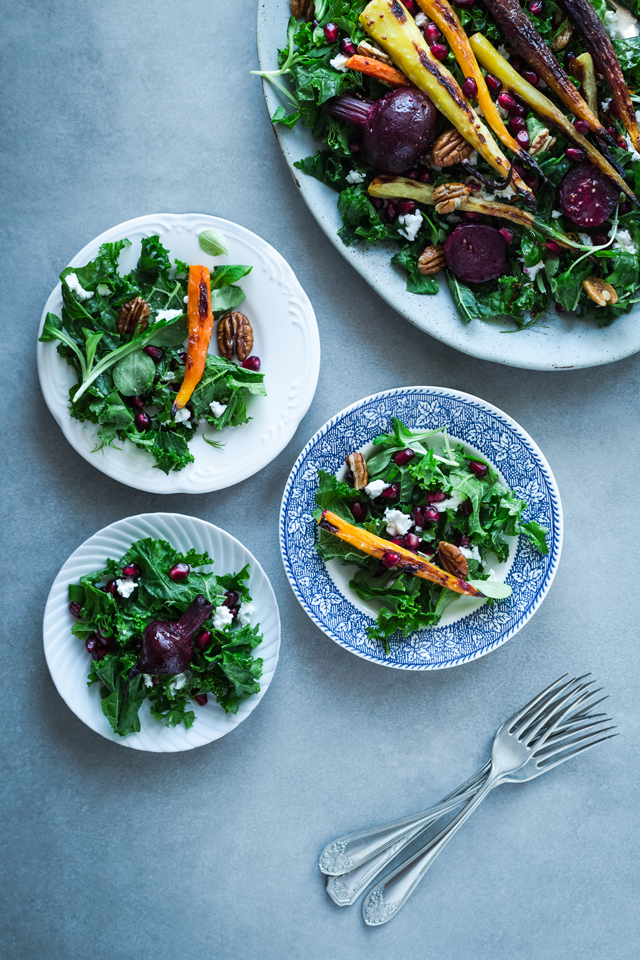 Kale, roasted vegetables, ricotta and pomegranate super salad