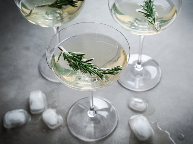 Limoncello, prosecco and rosemary cocktail