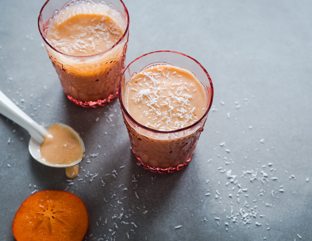 Persimmon and coconut lassi on christelleisflabbergasting.com