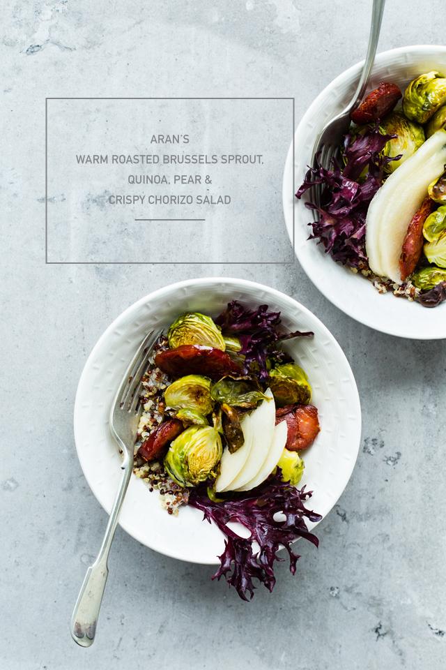 Aran's Warm Roasted Brussels Sprout Quinoa Salad, Pear & Crispy Chorizo Salad