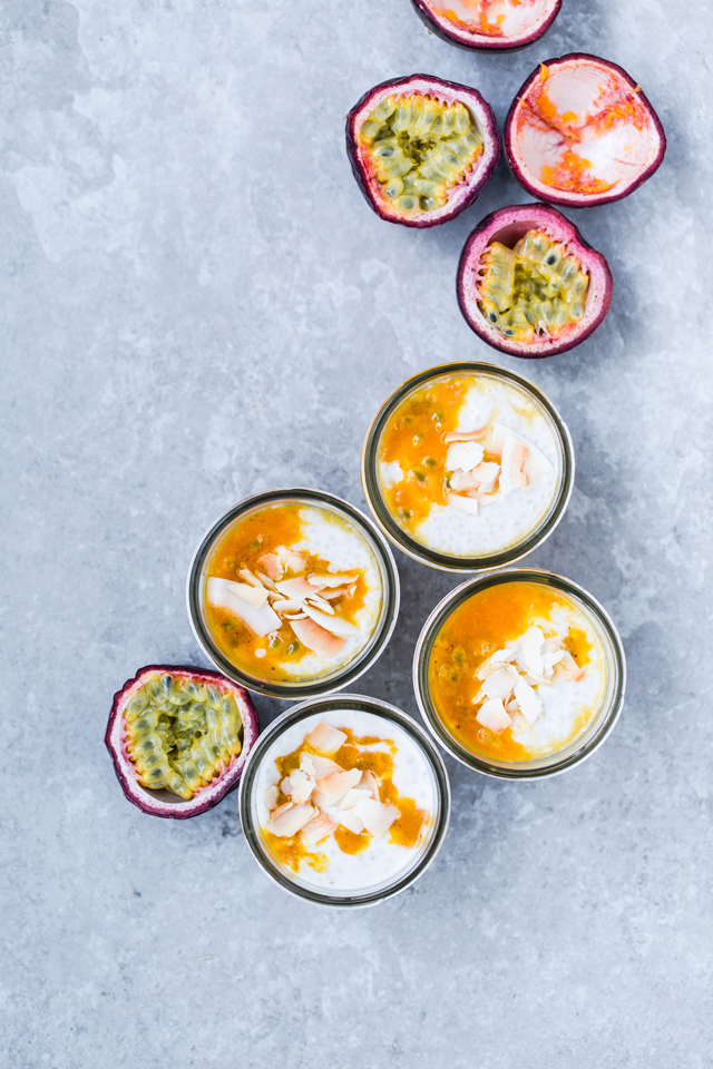 Hawaii in a jar: Coconut Chia Pudding with Passion Fruit & Maple Sauce