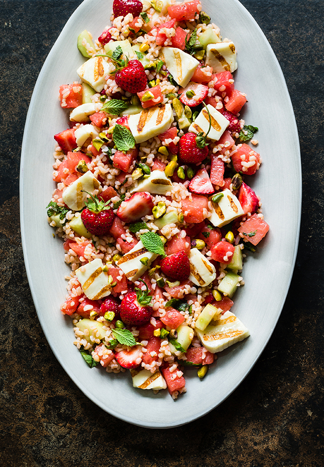 Strawberry, Grilled Haloumi and Bulgur Salad on christelleisflabbergasting,com