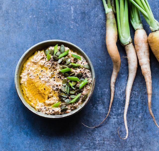 Roasted Carrot, Cumin, Harissa and Almond Butter Dip