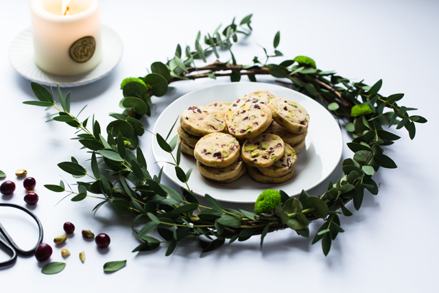 Pistachio, Cranberry and Clementine Cookies
