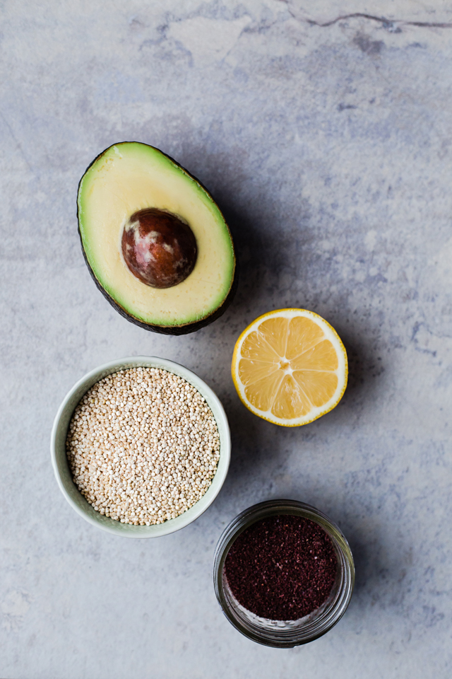 Quinoa, Avocado, Kale and Grilled Halloumi Bowl