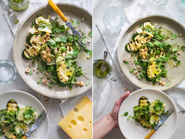 Salade de courgettes grillées, Jarlsberg et noisettes