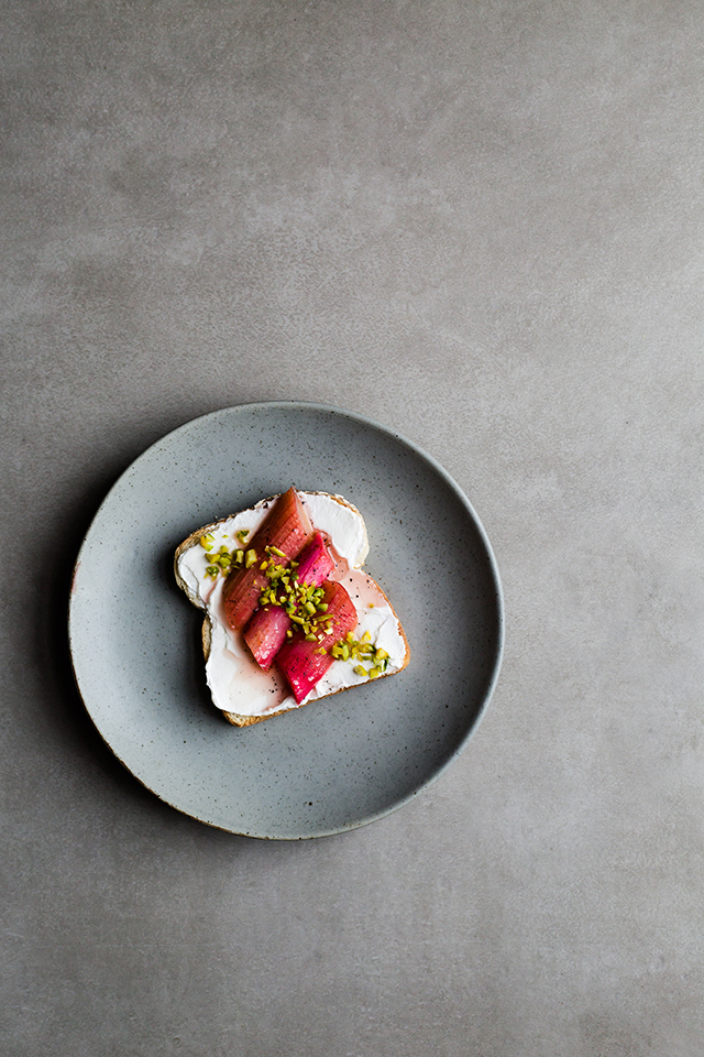 Roasted Rhubarb with vanilla, Labneh Toast and Pistachio
