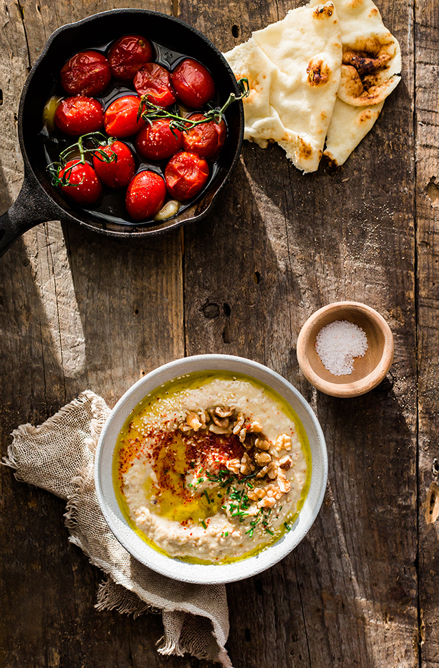 Persian Eggplant Dip & Olive Oil Roasted Tomatoes