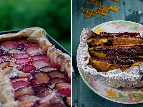 Tarte aux prunes, banane aux nutella