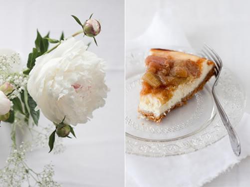 pivoine, cheesecake rhubarbe, vanille pochée