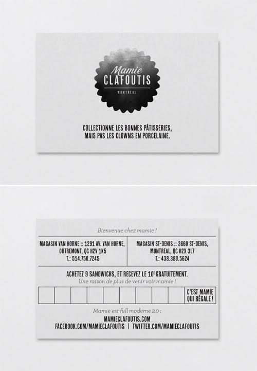 Cartes de visite Mamie Clafoutis Montréal